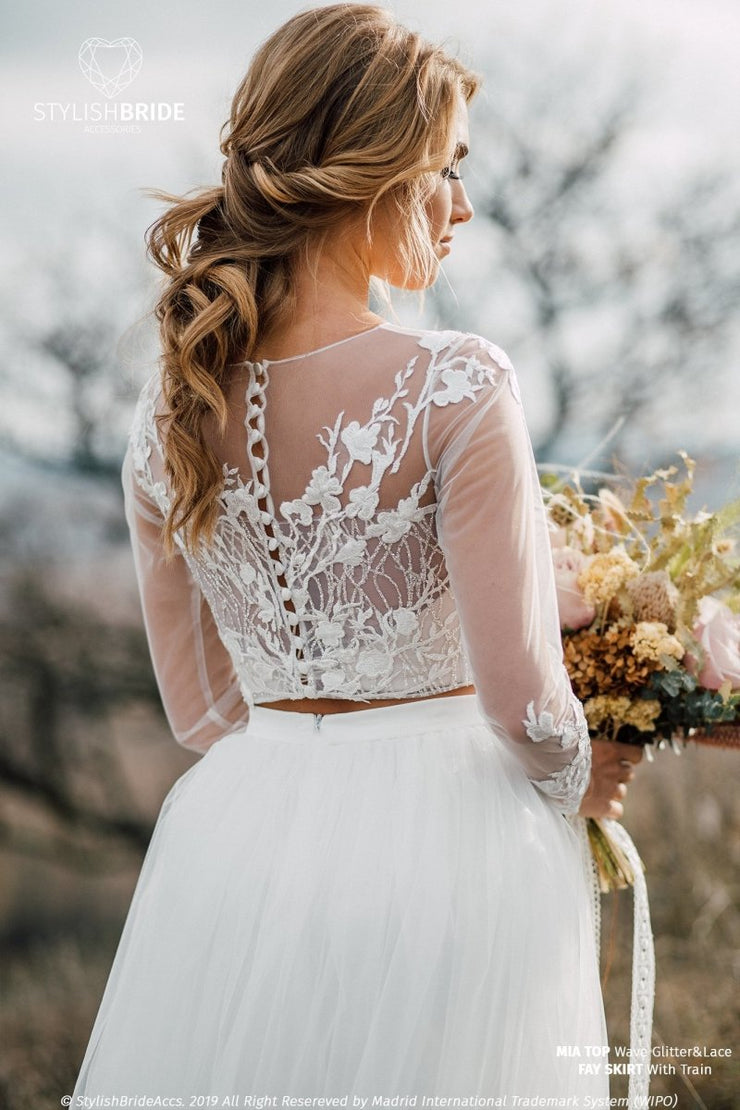 Mia | Floral Bridal Dress With Glitter Top - StylishBrideAccs