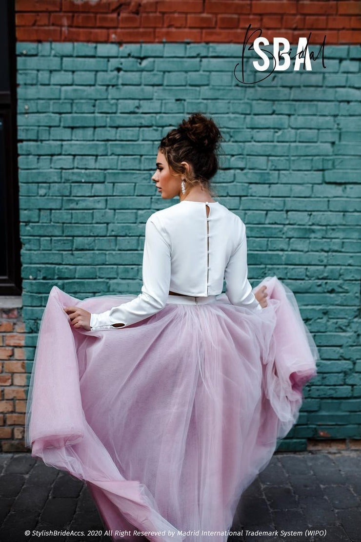 Michaela | Plum Rose Ombre Winter Bridal Dress - StylishBrideAccs