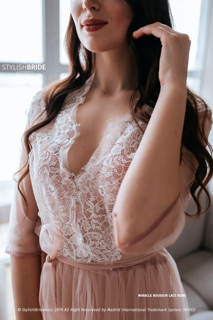 Miracle | lace boho boudoir robes for two brides - StylishBrideAccs