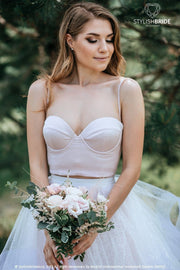 Molly | Boho Silk Satin Bustier with Thin Straps - StylishBrideAccs