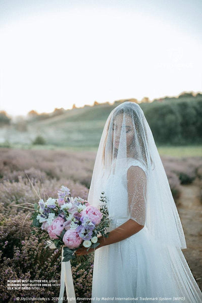 Morning Mist | Glitter Cathedral Veil Two Layers - StylishBrideAccs