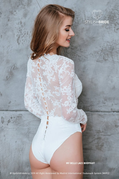 My Belle Lace Buttoned Back Wedding Bodysuit Lingerie - StylishBrideAccs