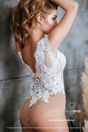 Mystery Rose Boho Bridal Lace Backless Bodysuit - StylishBrideAccs