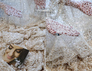 Nude Tulle Fabric with Crystals & Beads - StylishBrideAccs