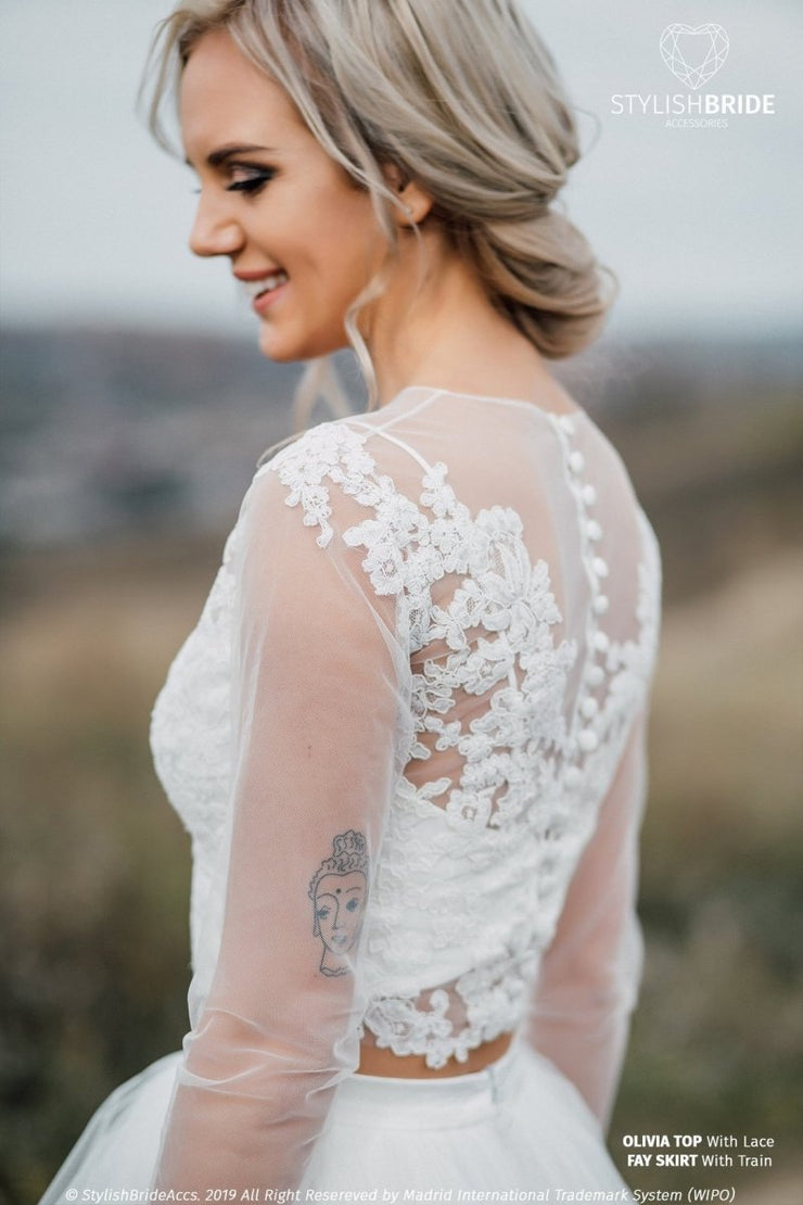 Olivia | Floral Bridal Top with Long Sleeves - StylishBrideAccs