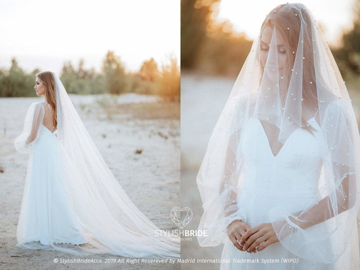 Pearl Cathedral Veil, Pearls Embroidery | Boho Veil 2020 - StylishBrideAccs