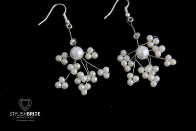 Pearl earrings, Silver Pearl earrings, wedding handmade earrings, Handmade Pearl earrings, Jewelry earrings, Handmade jewelry, Wire earrings - StylishBrideAccs