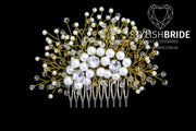Pearl Gold Hair Comb, Hair Comb, Wedding Gold Pearl Hair Comb, Hair Gold Pearl Accessories, Crystal Pearl Comb, Bridal Pearl Hairpiece - StylishBrideAccs