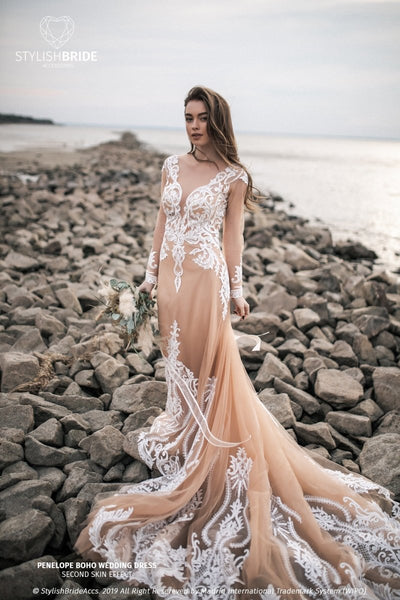 Penelope | Nude Bridal Dress with Train - StylishBrideAccs