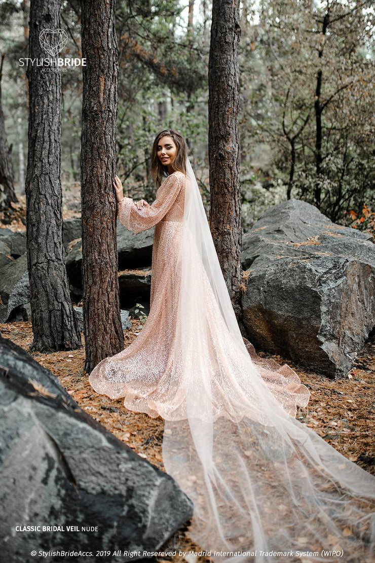 Powder Nude Draped Veil - from Classic to Cathedral Boho Veil - StylishBrideAccs