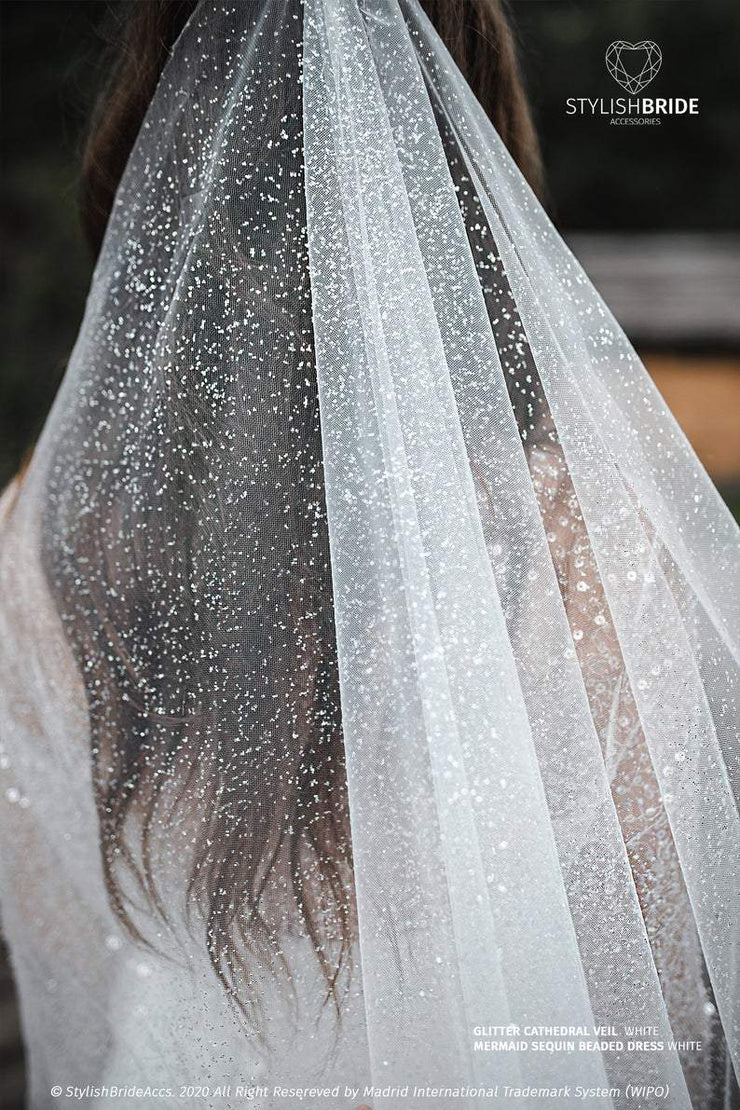 Princess Glitter Sparkle Cathedral Bridal Veil - StylishBrideAccs