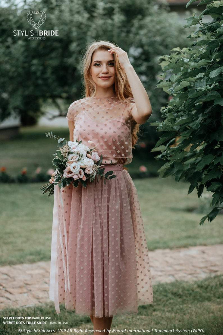 Prom Dotted Blush Tulle Skirt & Crop Top - StylishBrideAccs