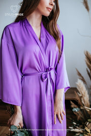 Purple lavender BOHO 'IRIS' Silk Robe for Bridesmaids - StylishBrideAccs