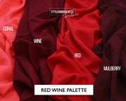 Red Wine Crepe De Chine Fabric Wholesale - StylishBrideAccs