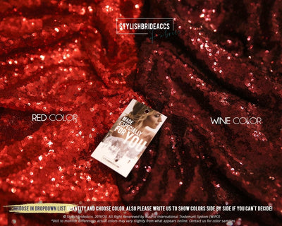 Red Wine Palette - Sequin Fabric, Wholesale - StylishBrideAccs