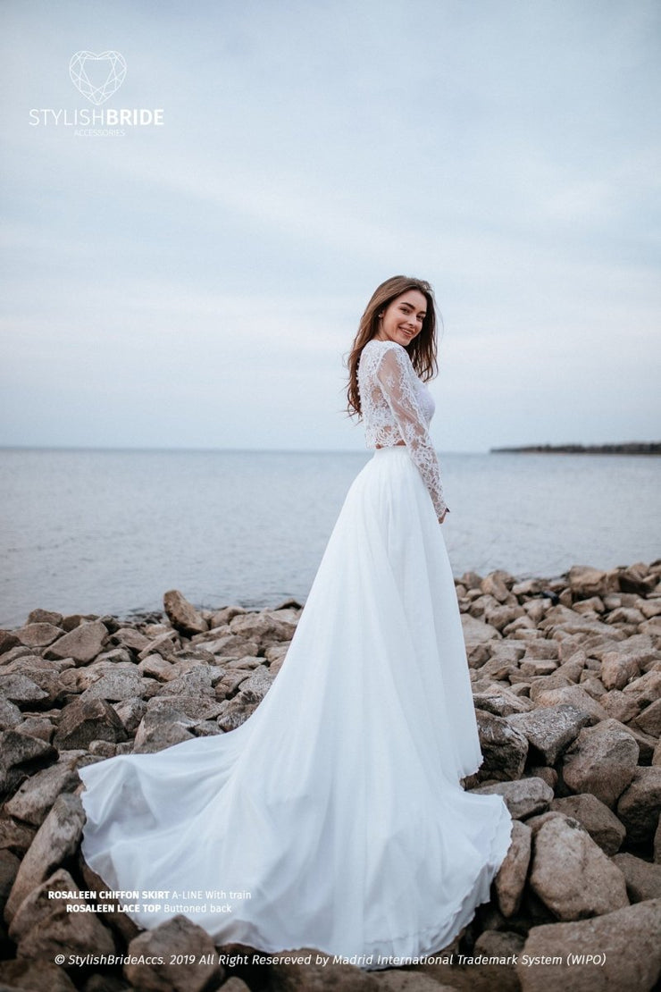 Rosaleen | Chiffon Bridal Lace Dress with Train - StylishBrideAccs
