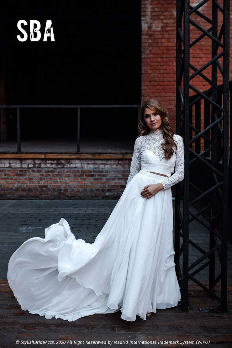 Rosaleen | High Neck Boho Dress with Train - StylishBrideAccs
