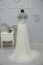 Rosaleen | Lace Bridal Dress with Chiffon Skirt - StylishBrideAccs