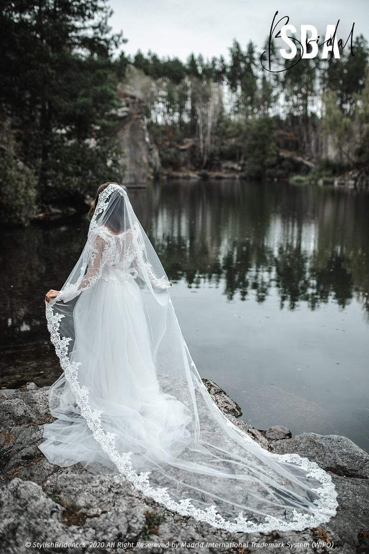 Rosaleen | Wide Lace Veil with Trim - StylishBrideAccs