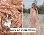 Rose Gold Embroidered Sequin Fabric - StylishBrideAccs
