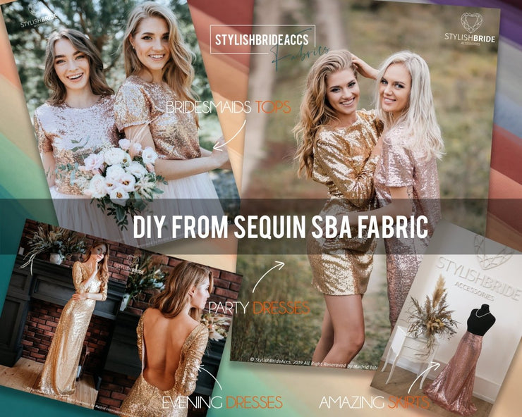 Rose Gold Sequin Fabric by the Yard, Wholesale - StylishBrideAccs
