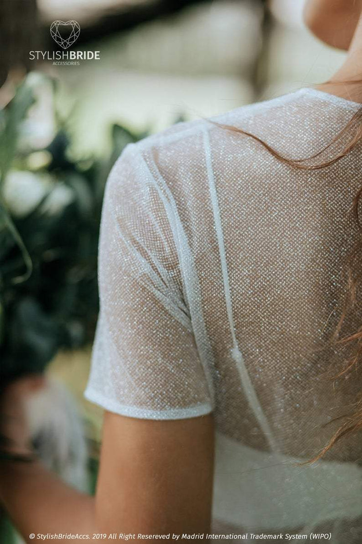 Sand Glitter Bridal Top and Stella Silk Bustier - StylishBrideAccs