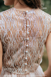 Sand Glitter | Nude Engagement Crop Top - StylishBrideAccs