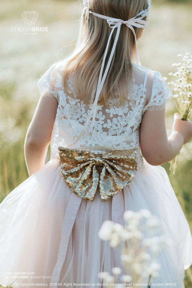 Sequin Bow Belt for Flower Girl Skirt - StylishBrideAccs