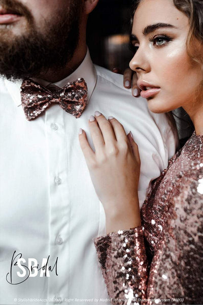 Sequin Rose Gold Mens Wedding Bow Tie - StylishBrideAccs