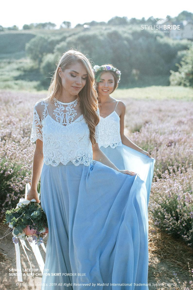 Sienna | Chiffon Bridesmaids Lace Top & Sunset Skirt - StylishBrideAccs