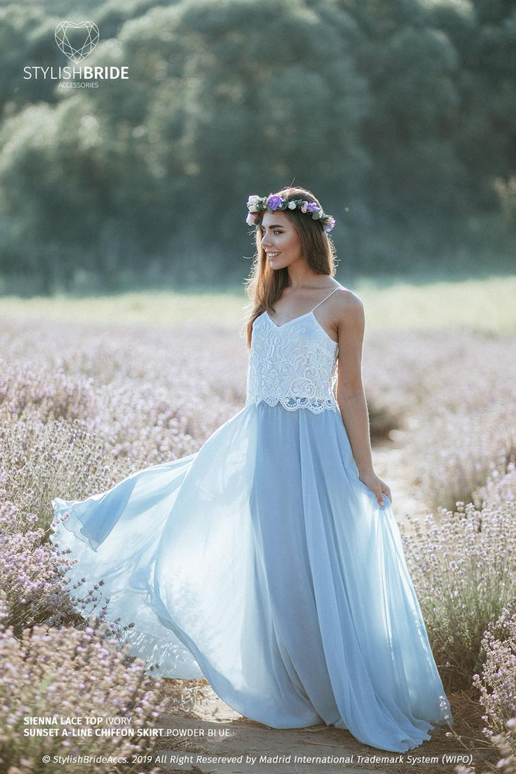 Sienna | Lace Bridesmaids Top with Sunset Skirt - StylishBrideAccs
