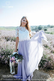 Sienna Lavender Bridal or Engagement T-Shirt Full Length Lace Chiffon Dress - StylishBrideAccs