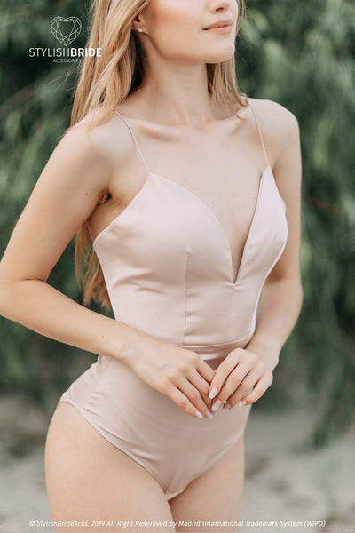 Silk Backless Bridal Bodysuit - Mermaid - Silk Open Back Boho Bodysuit - StylishBrideAccs