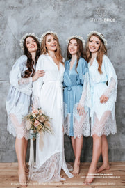 Silk Bridesmaid Robes with Back Embroidery - StylishBrideAccs
