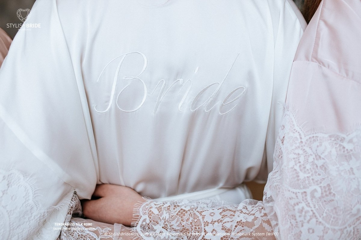 Silk Bridesmaid Robes With Back Embroidery Stylishbrideaccs