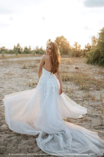 Silver Dream | Rustic Tulle Boho Dress with Train - StylishBrideAccs