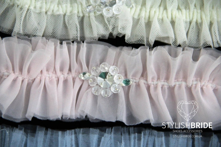 Simple Cheap Tulle Wedding Garters, Blush Wedding Garter, Bridal Ivory Garter, Bridal Blue Garters, Tulle Bridal Garter, Bridal Garter - StylishBrideAccs