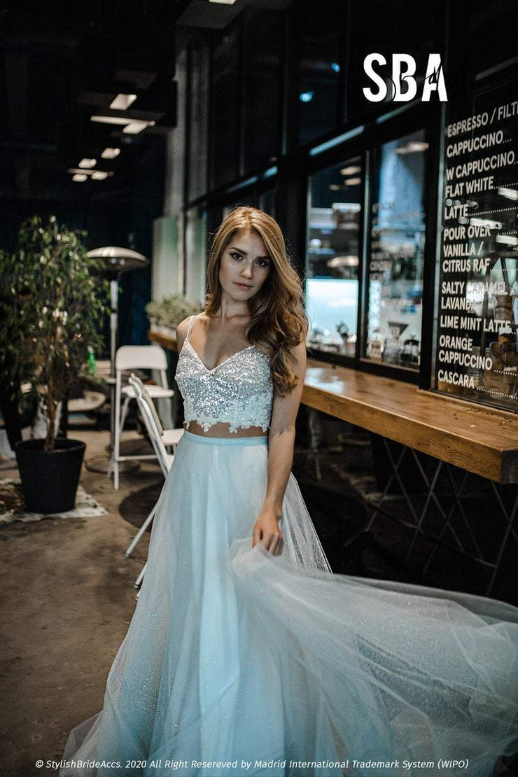 Star Glitter Thin Strapped Prom Crop Top - StylishBrideAccs