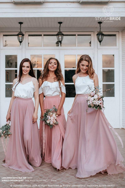 Sunset | Blush Prom Chiffon Skirt and Silk Top - StylishBrideAccs