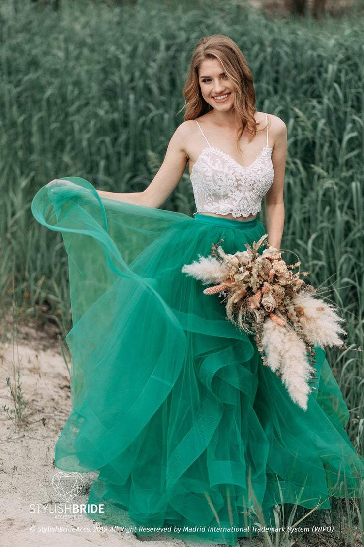 Swan | Green boho skirt with Isabel top - StylishBrideAccs