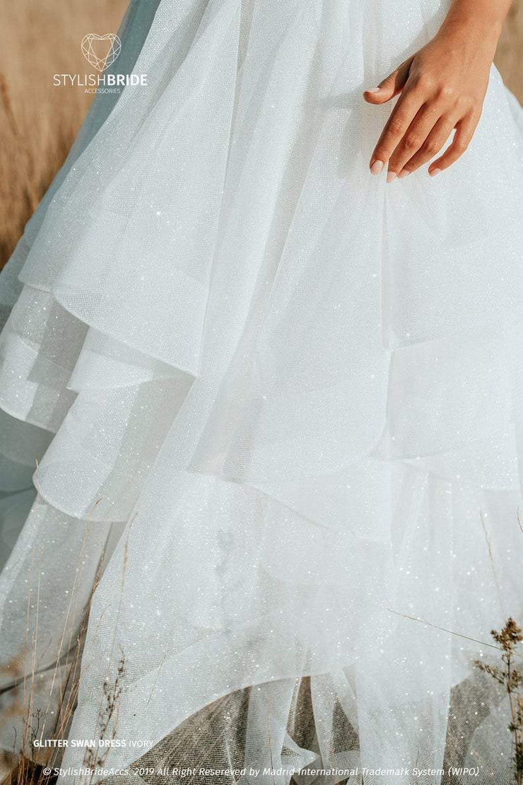 Swan | Star Glitter Disney Wedding Dress - StylishBrideAccs