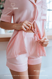 Sweet Dreams | Bridesmaid Pink Pajamas Short Set - StylishBrideAccs