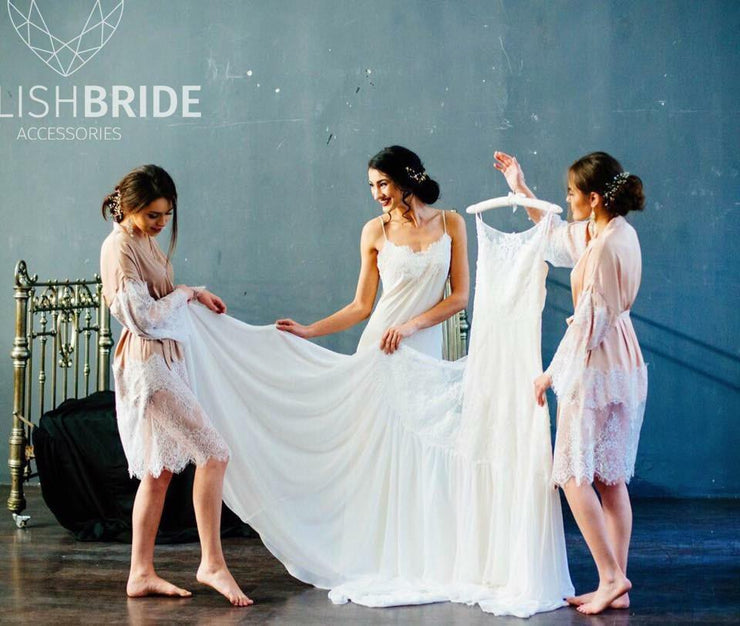 Taupe Bridesmaids Silk Robes with lace - StylishBrideAccs