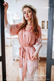 Tenderness | Blush Lux Bridal Robe with Lace Trim - StylishBrideAccs
