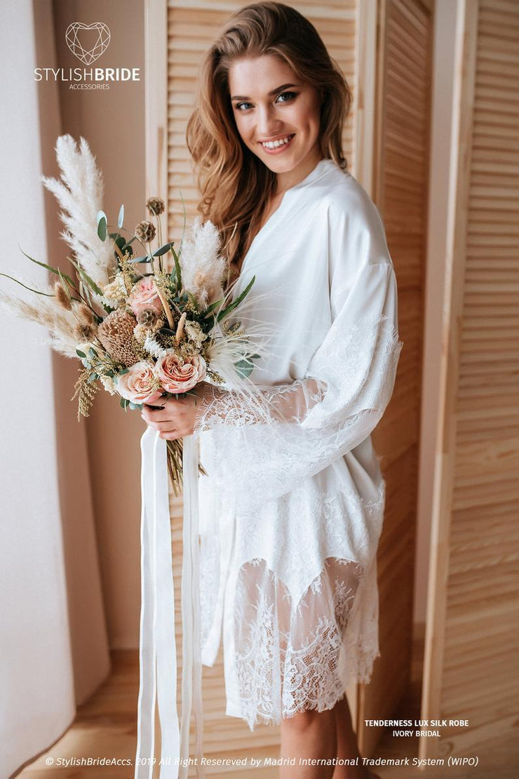 Tenderness | Ivory Bridal Luxury Silk Robe - StylishBrideAccs