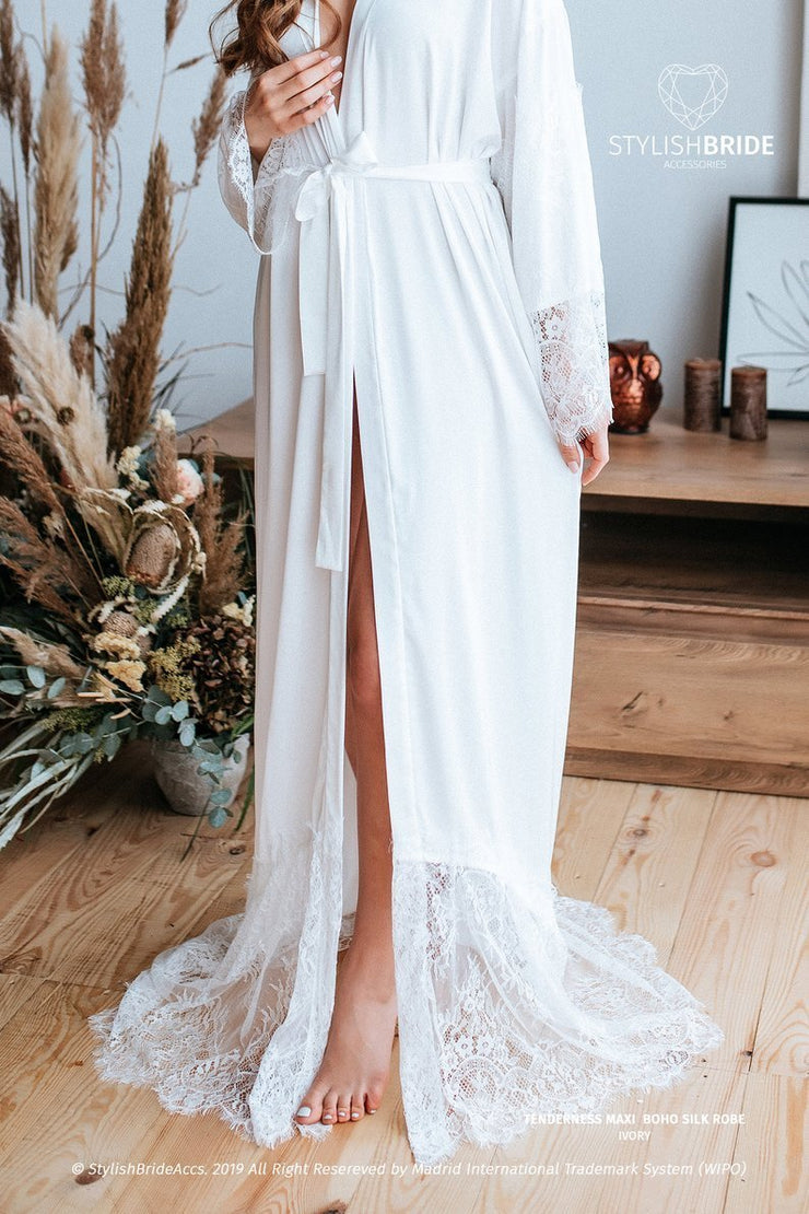 Tenderness | Lux Bridal Silk Robe with Lace Train - StylishBrideAccs