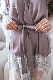 Tenderness | Pale Lilac Bridal Silk Robe Lace Trim - StylishBrideAccs