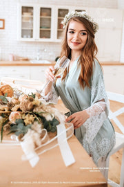 Tenderness | Sage Green Boho Silk Wedding Robe - StylishBrideAccs