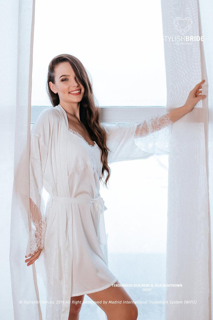 Tenderness | Silk Lace Wedding Robe & Nightgown - StylishBrideAccs