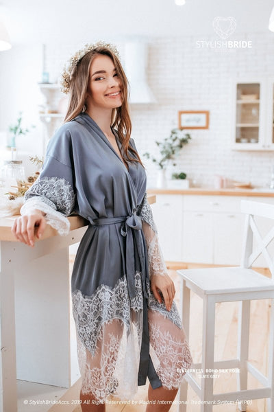 Tenderness | Slate Grey Silk Wedding Robe with trim - StylishBrideAccs